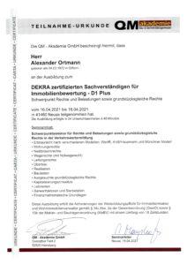 DEKRA zertifizierter Sachverständiger für Immobilienbewertung - D1 Plus - Ausbildung QM Akademie