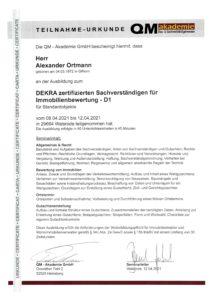 DEKRA zertifizierter Sachverständiger für Immobilienbewertung - D1 - Ausbildung QM Akademie